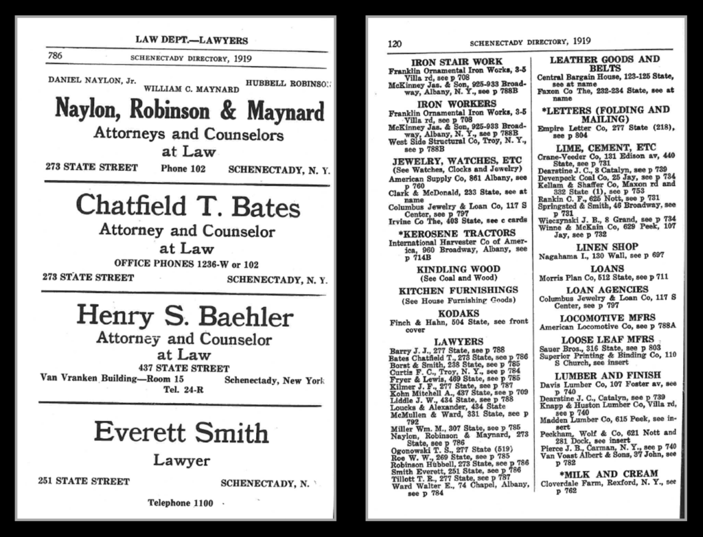 Firm's ad and listing in 1919 Schenectady Directory